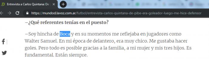 Carlos Quintana es hincha de Boca