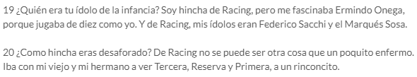 Quique Wolff admitiendo ser de Racing