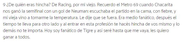 Gustavo Alfaro es hincha de