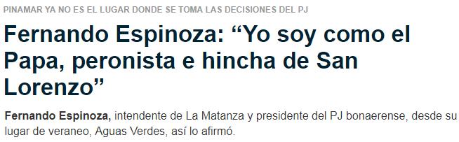 Fernando Espinoza es hincha de San Lorenzo