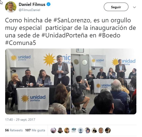 Daniel Filmus hincha de San Lorenzo