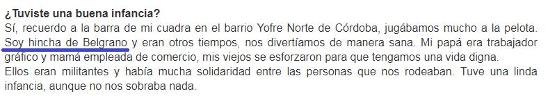 Nicolas Del Caño es hincha de Belgrano