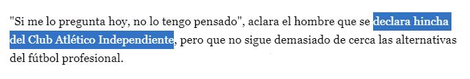Lavagna es hincha de Independiente