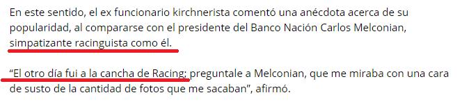 Guillermo Moreno es hincha de Racing declaración