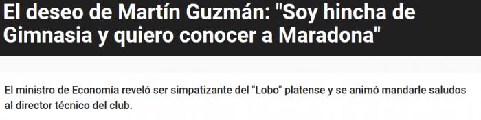 Martin Guzman fana del Lobo Platense