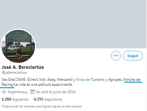 Jose Bereciartua hincha de Racing