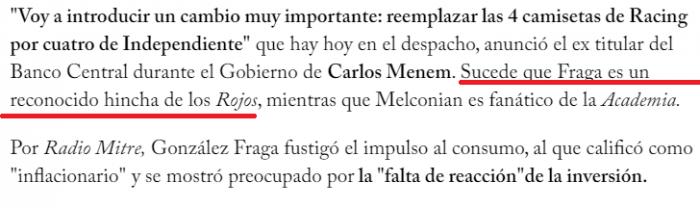 Javier Gonzalez Fraga hincha de Independiente