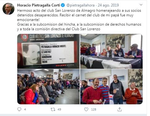 Horacio Pietragalla hincha de