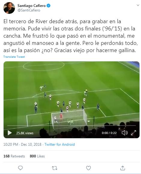 Santiago Cafiero hincha de River