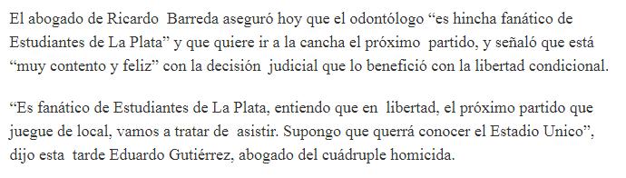 Ricardo Barreda es hincha de Estudiantes