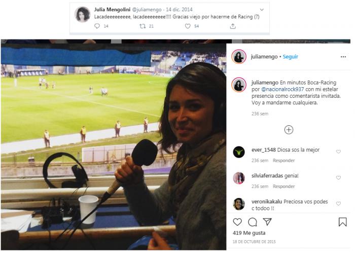 Julia Mengolini hincha de Racing
