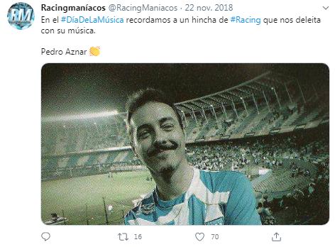 Pedro Aznar hincha de Racing en el Cilindro