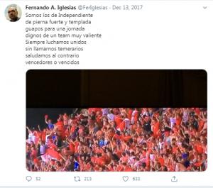 Iglesias hincha de Independiente