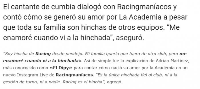 El dipy hincha de Racing
