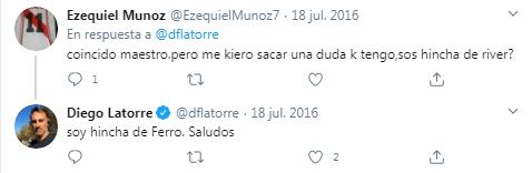 Diego Latorre es hincha de Ferro