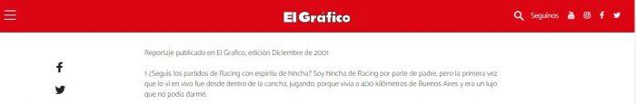 Jorge Valdano hincha de Racing Grafico