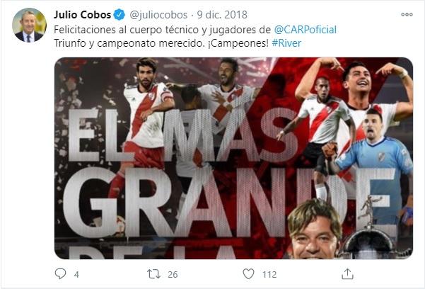 Es Julio Cobos hincha de River Plate