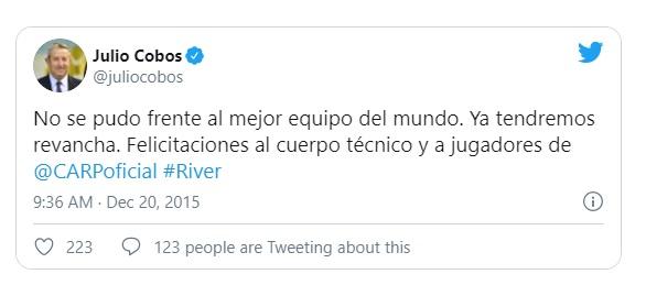 Julio Cobos hincha de River 2