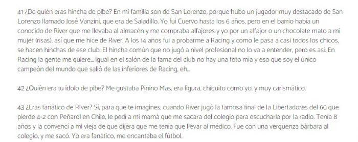 Vasco Olarticoechea hincha de River 2020