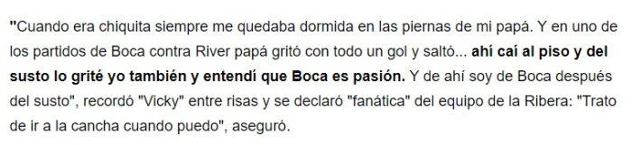 Vicky Xipolitakis hincha de Boca Juniors