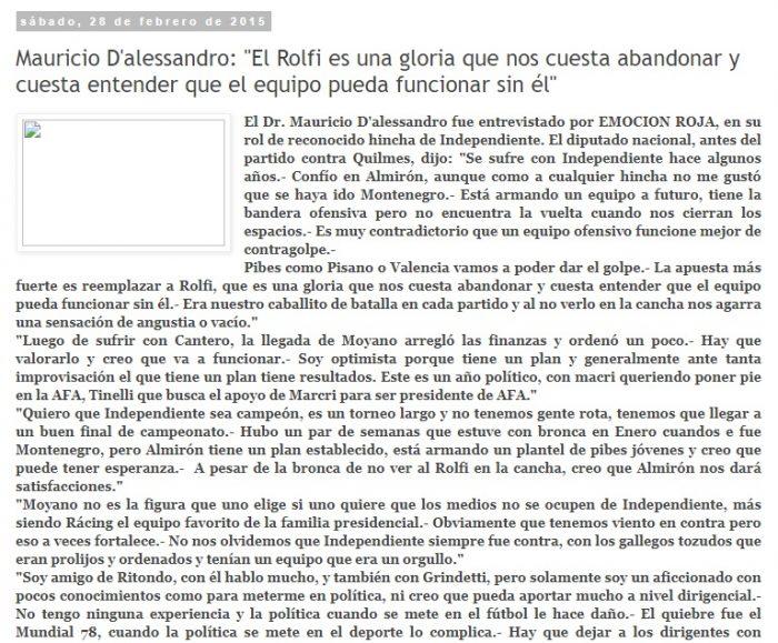 Mauricio Dalesandro hincha de Independiente de Avellaneda 2020