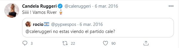 Cande Ruggeri hincha de River Plate