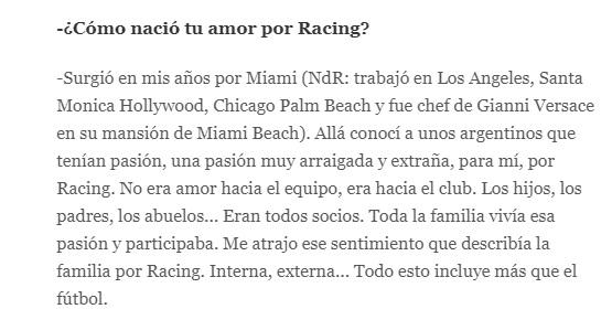 Donato de Santis hincha de Racing 1