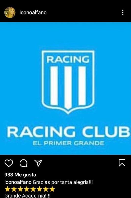 Graciela Alfano hincha de Racing 2020