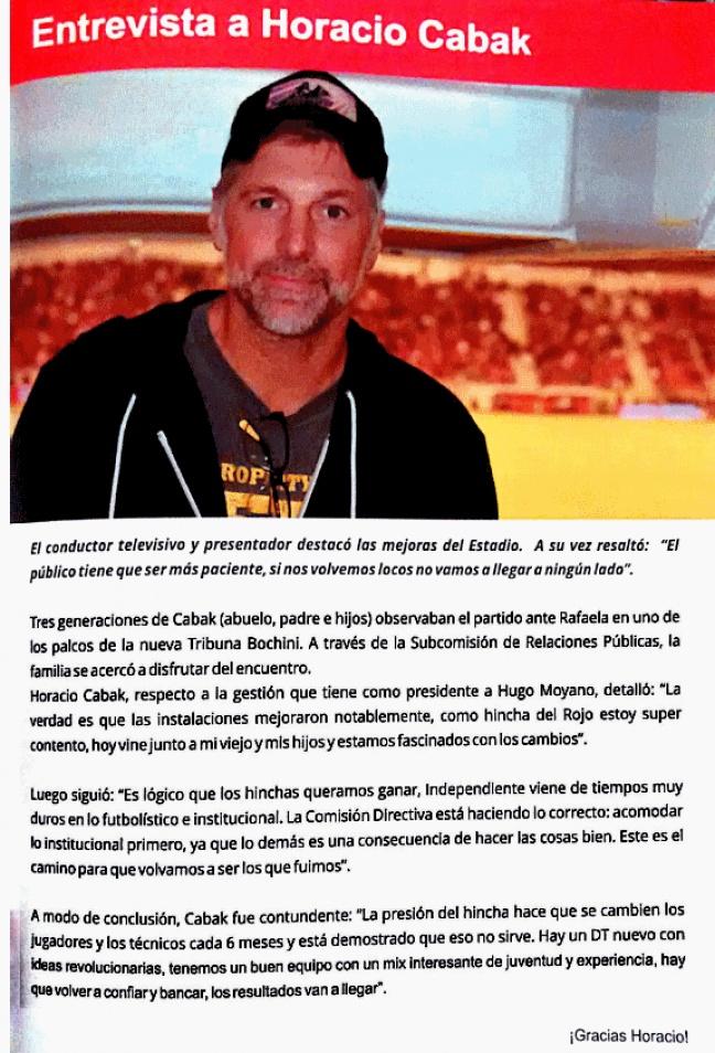 Horacio Cabak hincha de Independiente 2