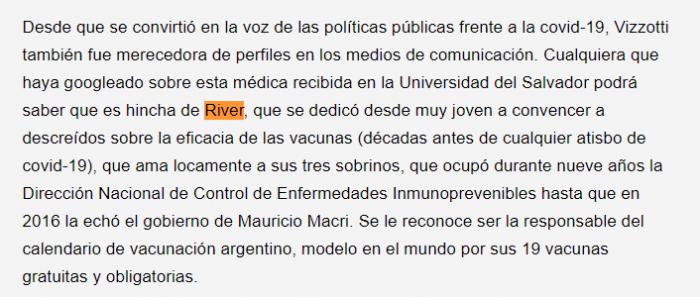 Carla Vizzotti hincha de River ok