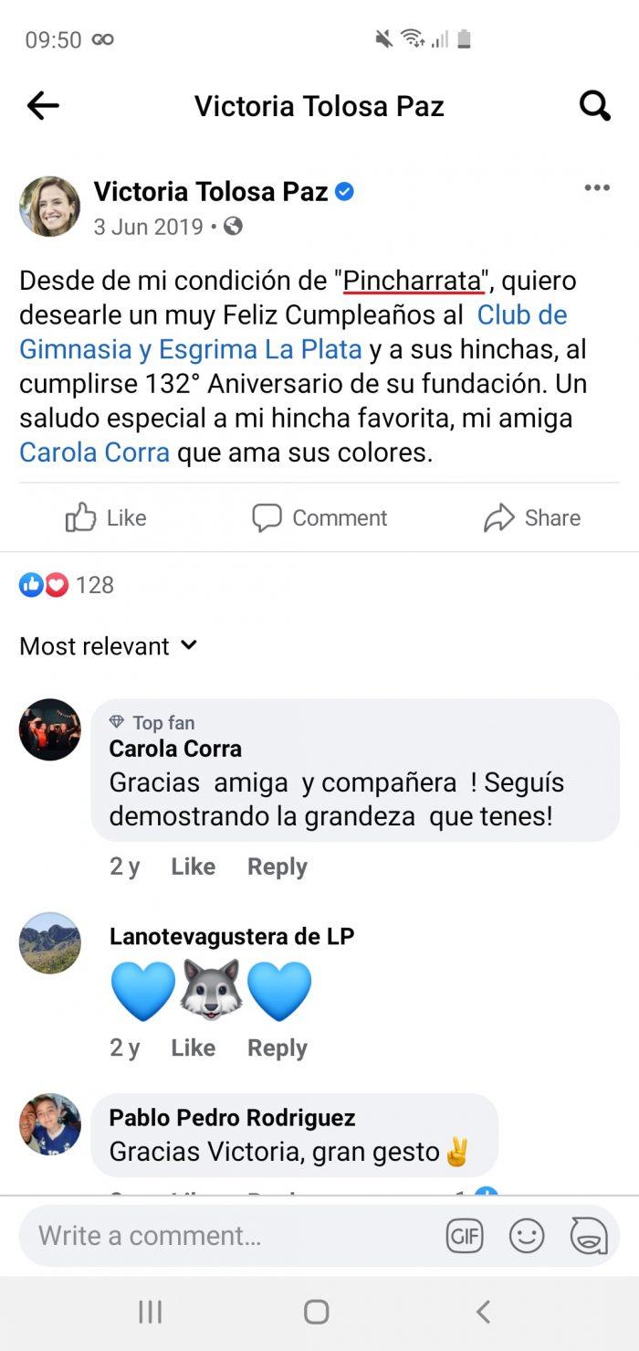 Victoria Tolosa Paz hincha de Estudiantes