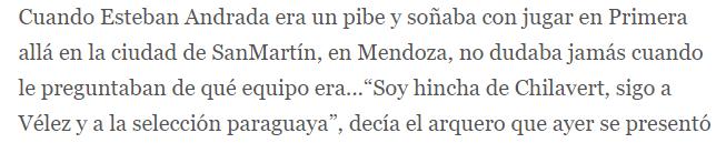Esteban Andrada hincha de Velez OK